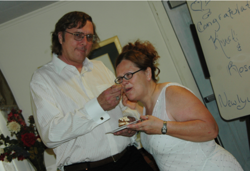 The happy couple and cake